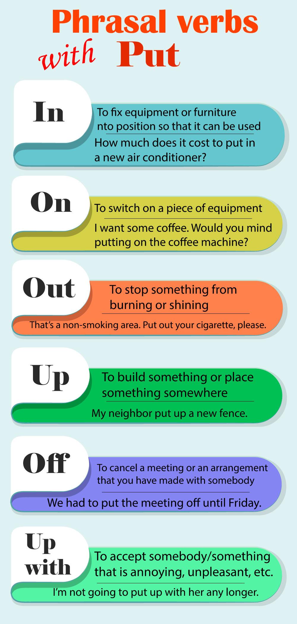 Фразовые глаголы с Put