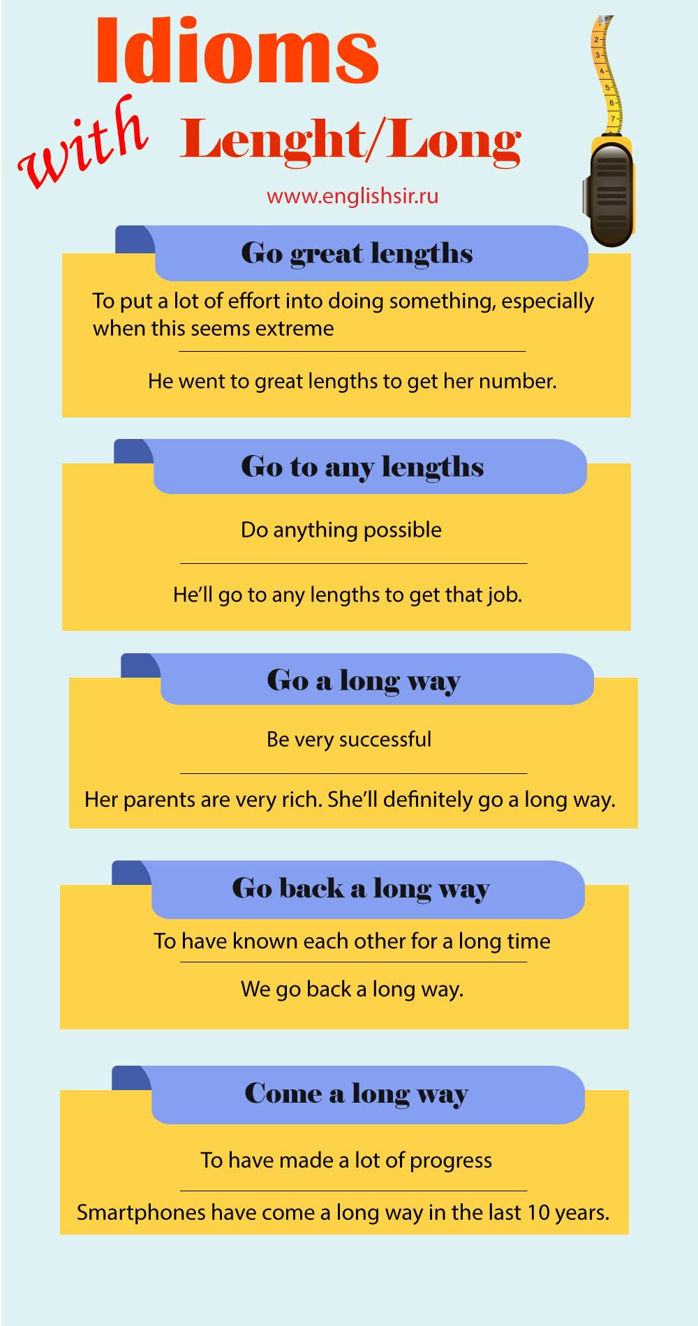 Идиомы о длине на английском