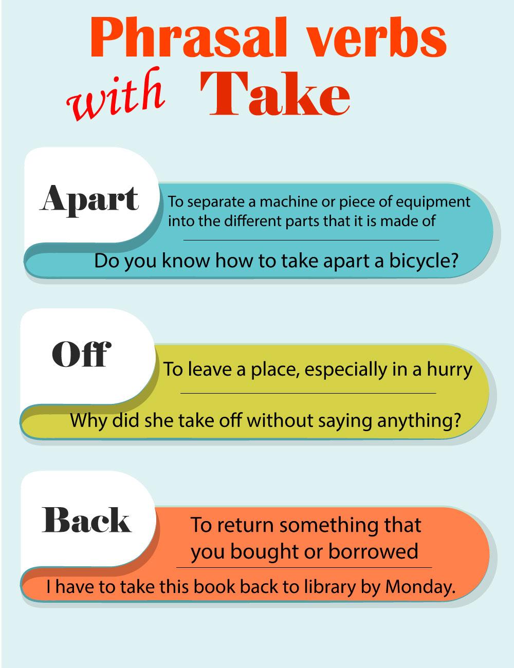 Фразовые глаголы с take