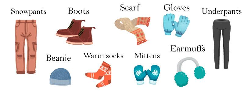 Зимняя одежда на английском языке