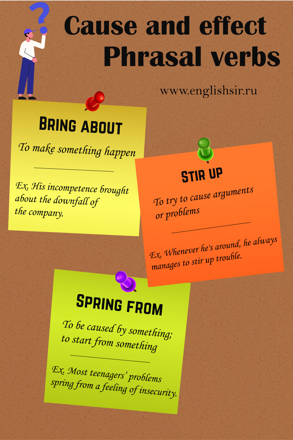 cause and effect phrasal verbs