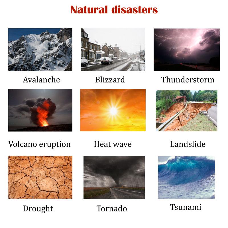 Природные катаклизмы на английском языке