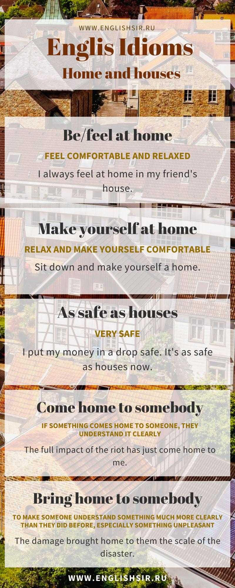Идиомы с домами на английского языке